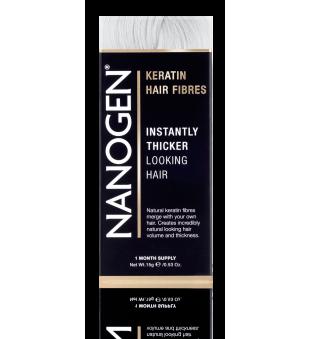 Nanogen Keratin Hair Fibres White Plaukų efektą sukurianti pudra-skaidulos, 15g | elvaistine.lt