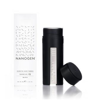 Nanogen Keratin Hair Fibres Black Plaukų efektą sukurianti pudra-skaidulos, 30g | elvaistine.lt